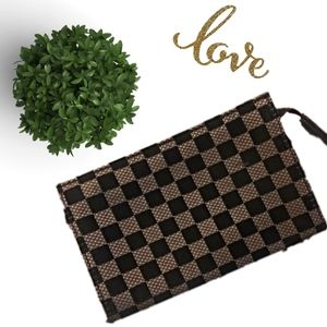 Tan and Brown Checkered Wallet